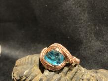"Brazilian Blue Apatite Rose Gold ""mini"" Ring SIZE 8"