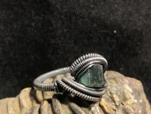 "Green Tourmaline Oxidized ""mini"" Ring SIZE"