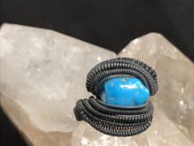 Turquoise Oxidized Silver Ring Size 7