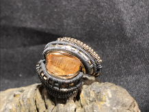 Imperial Topaz Oxidized Silver Ring SIZE 7.5