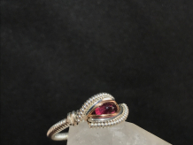 "Faceted Garnet Silver ""mini"" Ring SIZE 6"