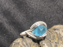 "Blue Apatite Silver ""mini"" Ring SIZE 5-5.5"