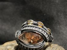 "Rutile Quartz ""Trinity Series"" Silver Ring Size 9.5"