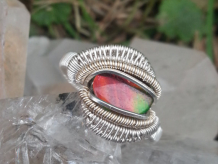 Ammolite Silver w Gold Ring SIZE 9