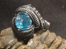 Blue Apatite Oxidized Silver Ring SIZE 6
