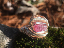 Pink Tourmaline Rose Gold Ring SIZE 6.5