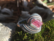 Watermelon Tourmaline Oxidized Silver w/ Rose Gold Ring SIZE 6.5