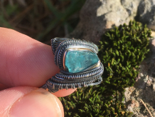 Blue Apatite Oxidized Silver Ring SIZE 8.25