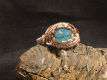 Blue Apatite Silver, Gold & Rose Gold Ring SIZE 8.5-9