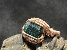 Green Tourmaline Rose Gold Ring SIZE 6.5-7