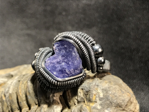 "Tanzanite ""Antiqued"" Silver Ring SIZE 9.5"