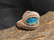 Chrysocolla Silver Ring SIZE 8