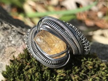 Imperial Topaz w/Opal Silver Ring SIZE 7.5