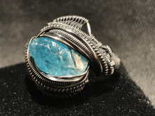Blue Apatite Silver Ring SIZE 6
