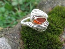 Amber Silver w/ 14kt Gold Ring SIZE 7