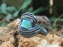 Raw Amazonite Oxidized Silver Ring SIZE 6.5