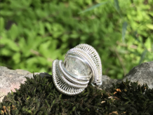 Petroleum Quartz Silver Ring SIZE 5.5-6
