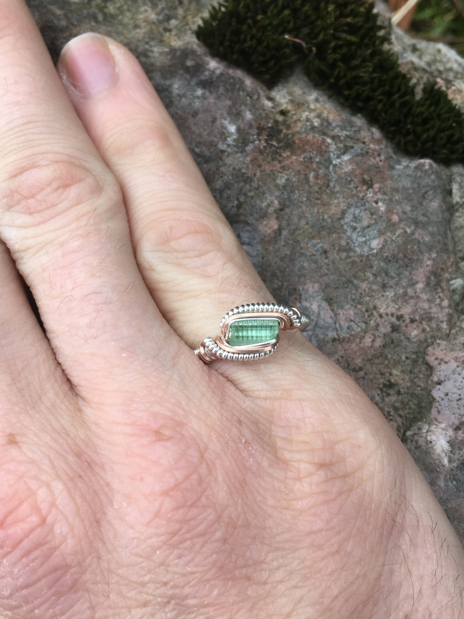Green Tourmaline Silver w/Rose Gold \
